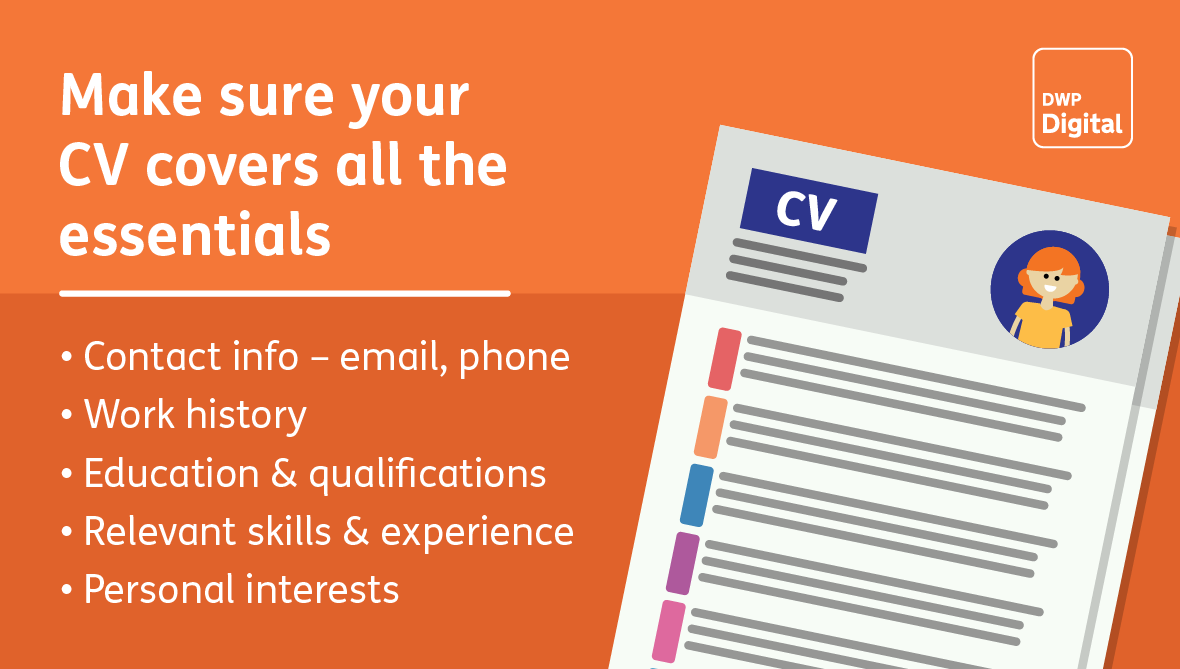 Tips for making sure your CV covers the essentials: contact info, work history, education and qualifications, skills and experience, and personal interests.